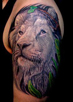 Tatuagem Masculina - Leão de Judá, braço