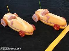 Cute idea for food. Race Car Sandwiches - You can substitute the toothpicks with pretzel/carrot sticks (safer for little ones). Cars Party Foods, Race Car Party, Race Cars, Nascar Party, Disney Cars Birthday, Cars Birthday Parties, Birthday Kids, Sandwich Original, Amazing Food Decoration