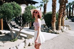 Leather Circle Skirt, Floral Print Off-Shoulder Top and Floppy Hat. #AmericanApparel #festival #pastel