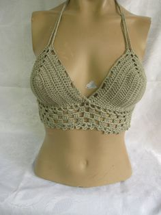 Crochet bikiniHippie Bikini Top  gyspy top by StudioCybele on Etsy, $25.00