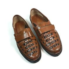 3e3363e654b6c Haband Deer Stags Mens 9.5 D Loafers Brown Woven Leather Adjustable Strap  Shoes