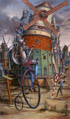 "Don Quixote ""tilting at windmills"" by Tomek Setowski..."