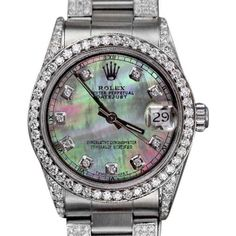 Pre-owned Rolex Oyster Perpetual Datejust Stainless Steel Black Mother... ($6,999) ❤ liked on Polyvore featuring jewelry, watches, holiday watches, preowned watches, evening jewelry, sparkly watches and stainless steel wrist watch
