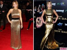 Jennifer Lawrence in gold. I am OBSESSED with the UK premiere dress (the left one). She looks absolutely stunning in gold!
