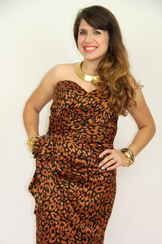 Vintage leopard dress as seen here http://cheeky-vintage.myshopify.com/products/copper-black-stain-strapless-dress