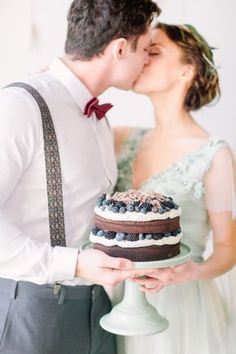 Chocolate naked cake with blueberry topping   Romantic Pre-Wedding Styled Shoot via @Bellesbubbles