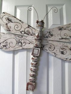 Scroll cut out wings...Table Leg Dragonfly Wall or Garden Art  by LucyDesignsonline, $65.00