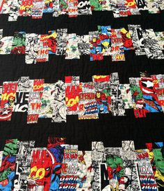 """BOYS ROOM IDEAS Handmade to Order Marvel Heroes """"Comic Strips"""" Quilt Twin Size $225"""