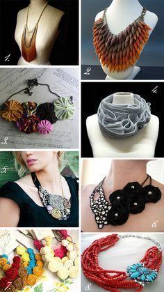 Necklaces Diy More statement necklace DIY ideas. Textile Jewelry, Fabric Jewelry, Beaded Jewelry, Handmade Jewelry, Fabric Necklace, Diy Necklace, Black Necklace, Ideas Joyería, Bijoux Diy