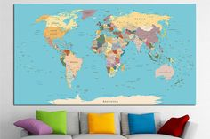 WORLD MAP, Map Of The World, Large World Map, World Map Poster, World Map  Print, Watercolor Map, Painted Map, Map Art, Painted Map No.8 | Pinterest  ...