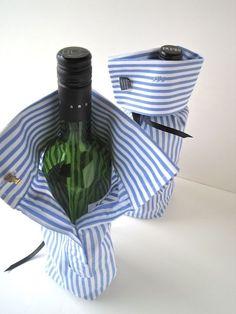 Maak van de mouwen van een (oud) overhemd een originele verpakking voor een wijnfles. Zo wordt een fles wijn cadeau geven nog leuker!  Knip de mouwen af, iets langer dan de fles. Naai de onderkant vast en bevestig een lintje aan de binnenkant in de manchet. Stop de fles erin en stik het lintje om de hals van de fles. Knop met een manchetknop de mouw vast. Simpel, snel en ontzettend leuk!
