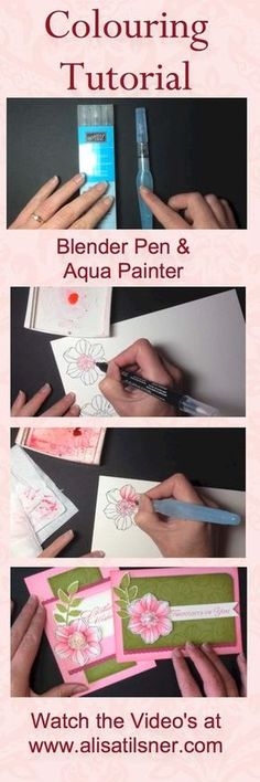 Video Tutorials showing how to colour with Blender Pens and Aqua Painters on Watercolour Paper. www.alisatilsner.com #blenderpen #aquapainter #stampinup