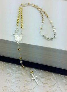 Gold Over Silver Rosary Necklace Silver Rosary 3 by Alyssasdreams