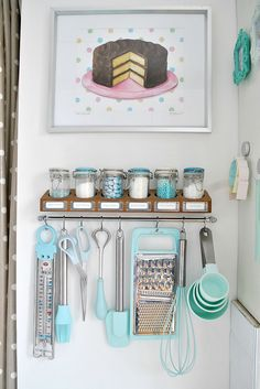 Adorable baking corner. #kitchen #cake #art #tools #blue #white #silver