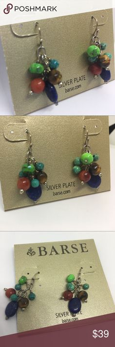 """🍭BARSE Sterling Silver Plate Gem Semi-Precious Brand new. Fish hook. About 1.3"""" long. BARSE Jewelry Earrings"""
