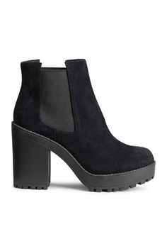 Boots in suede with elastic panels at sides and chunky rubber soles. Front platform height 1 in., heel height 4 in. Black Platform Boots, Black Suede Shoes, Black Heel Boots, Black Ankle Booties, Black High Heels, Suede Ankle Boots, Suede Booties, Boot Heels, Platform Shoes