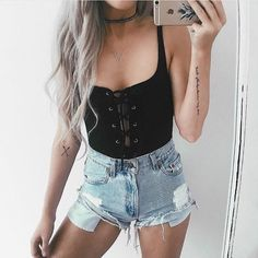Even angels need a night off, so spend it looking irresistible in the City of Angels Black Lace-Up Bodysuit! Soft, cotton-blend knit bodysuit with trendy lace-up front. Teen Fashion, Fashion Outfits, Womens Fashion, Simple Dresses, Cute Dresses, Look Con Short, Cool Outfits, Casual Outfits, Look Cool