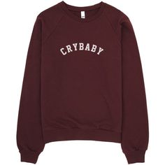 Crybaby ($35) ❤ liked on Polyvore featuring tops, sweaters, shirts, long sleeves, extra long sleeve shirts, long-sleeve shirt, red long sleeve top, red shirt and long sleeve tops