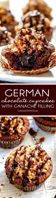 German Chocolate Cupcakes with Chocolate Ganache Filling - these are the best cupcakes I've had in my entire life! They are super rich and chocolaty without being over the top and the filling and frosting are divine! Everyone always asks me for this recipe! via /carlsbadcraving/