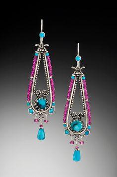 Enameled sterling silver, rhodolite garnet  turquoise chandeliers.  Vanessa Mellet Jewelry