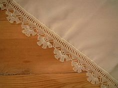 cream scarf with needle lace trim namaz scarf by PashaBodrum