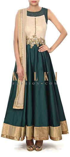 Buy Online from the link below. We ship worldwide (Free Shipping over US$100) Price- $139 Click Anywhere to Tag http://www.kalkifashion.com/dark-green-anarkali-suit-enhanced-in-mirror-and-zardosi-embroidery-only-on-kalki.html
