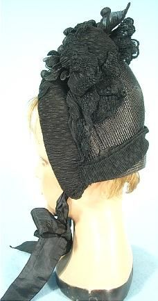 """1888 Mourning Bonnet of Black Straw and Crape Trim with Silk """"Berries"""""""
