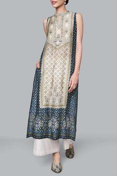 Shop Anita Dongre Ranthambore jungle inspired printed sleeveless tunic , Exclusive Indian Designer Latest Collections Available at Aza Fashions Churidar, Anarkali, Lehenga, Saree, Salwar Kameez, Indian Wedding Outfits, Indian Outfits, Indian Attire, Indian Wear