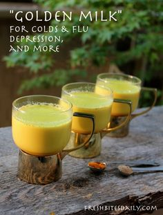 """Golden milk"" for cold, flus, depression, and more ✿2 cups of milk (or substitute coconut milk) ✿1 teaspoon dried turmeric (or one-half inch fresh turmeric thinly sliced or diced) ✿1 teaspoon dried ginger (or one-half inch fresh ginger thi..."