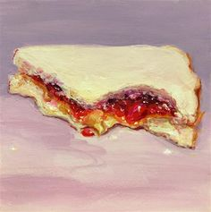 """Daily Paintworks - """"Couldnt Wait (PB&J #30)"""" - Original Fine Art for Sale - © Sunny Avocado"""