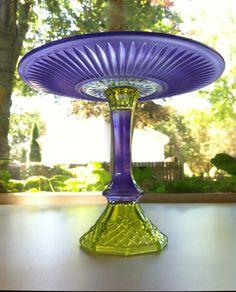 Pretty in Purple and Green Cake Pedestal Cupcake Plate