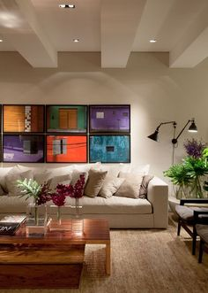 Colorful artwork, neutral funishings - Confira mais alguns ambientes da Casa Cor SP 2014