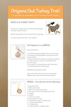 Origami Owl Turkey Trot! Collect a few orders and win prizes! FB.com/LocketsbySST