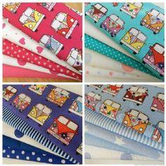 VINTAGE HIPPY VAN/CAMPER VAN fat quarter bundles 100% cotton pink blue red aqua   Always Knitting & Sewing