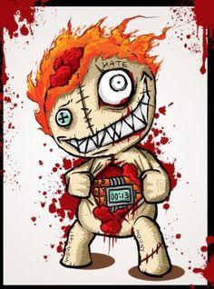 Joker Drawings, Girly Drawings, Cool Art Drawings, Scary Drawings, Tattoo Drawings, Voodoo Doll Tattoo, Voodoo Dolls, Doll Drawing, Drawing Board
