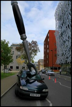 Giant Fork Stabs a Car