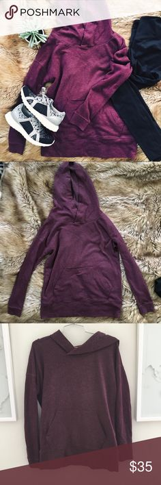 Victoria's Secret pullover hooded sweatshirt purpl A purple hooded sweatshirt from Victoria's Secret. In excellent used condition - worn and washed just once. Size XS. 60% cotton 40% polyester. Victoria's Secret Tops Sweatshirts & Hoodies