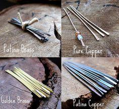 Gorgeous Head Pins Set. Patina Brass, Pure Copper, Golden, Patina Copper Sticks. Hammered 20 gauge headpins