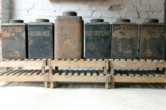 Rare set of toleware canisters, from DC member Doe and Hope