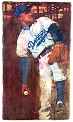Dodgers Don Newcombe painting by Bernie Fuchs