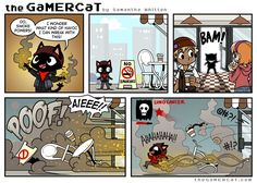 Gamer cat in infamous 3 Gamer Cat, Gamer Humor, Gaming Memes, Cat Comics, Anime Comics, Funny Cat Videos, Funny Cat Pictures, Funny Webcomics, Chat Games