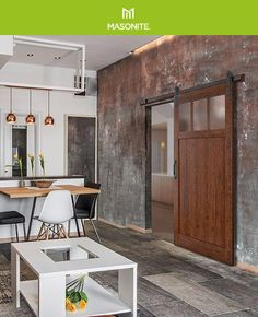 Make a statement with Craftsman-style barn doors by Masonite. Highlight the natural elements of your space with an organic, rustic design. #barndoor #diy #modernfarmhouse Barndoor Diy, Door Kits, Diy Barn Door, Interior Barn Doors, Craftsman Style, Rustic Design, Modern Farmhouse, Highlight, Bathrooms