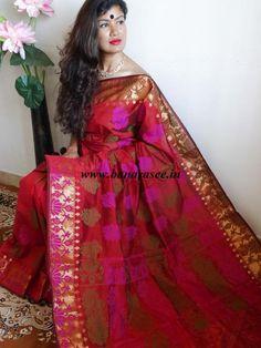 Banarasee Cotton Silk Resham Buti Saree-Deep Red