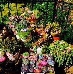 Love my succulent garden! My painted rocks add to my joy!