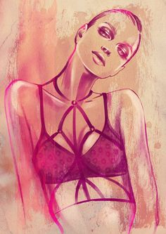 A fashion illustration of Fl*sh you&me lingerie by Alina Grinpauka