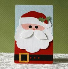 handmade Christmas card: Silhouette Santa Card by (debbie), via… Homemade Christmas Cards, Homemade Cards, Handmade Christmas, Christmas Crafts, Santa Cards Handmade, Santa Christmas, Father Christmas, Christmas Card Making, Christmas Ideas