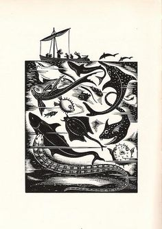 St Brendan and the sea monsters. Used as illustration to Beasts and Saints by Helen Waddell. Art And Illustration, Linocut Prints, Art Prints, Block Prints, Willy Ronis, Linoprint, Scratchboard, Sea Monsters, Fish Art