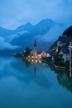 ~~Hallstatt Morning ~ lake view, foggy morning at the iconic landmark, Austria such beautiful dream-like scenery. Places Around The World, Oh The Places You'll Go, Places To Travel, Travel Destinations, Places To Visit, Around The Worlds, Austria Destinations, Wonderful Places, Beautiful Places