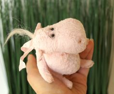 Teddy Bear style Artist viscose vintage OOAK Hippo handmade collectible toy by IntDolls on Etsy