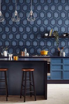 A digitally printed geometric pattern with hexagon, within hexagon shapes. Shown here in the Aqueous shades of blue colourway. ORder your sample today and see the complete collection now at wallpaperdirect.com Graham Brown, Blue Wallpapers, Hexagon Shape, True Colors, Shades Of Blue, Piano, Tile Floor, Shapes, Texture